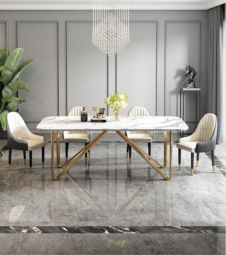 Mesa de comedor ligera de lujo mesa de comedor de mármol mesa de comedor moderna sencilla mesa de comedor familiar pequeña combinación Hong Kong Styl