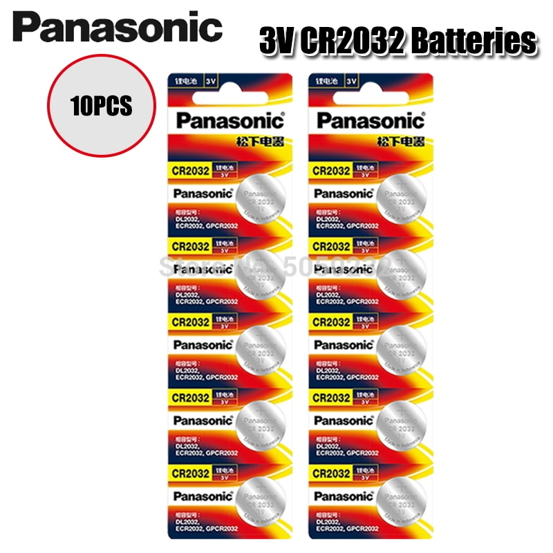 10PCS/lot PANASONIC Original CR2032 Button Cell Battery 3V Lithium Batteries CR 2032 for Watch Toys Computer Calculator Control