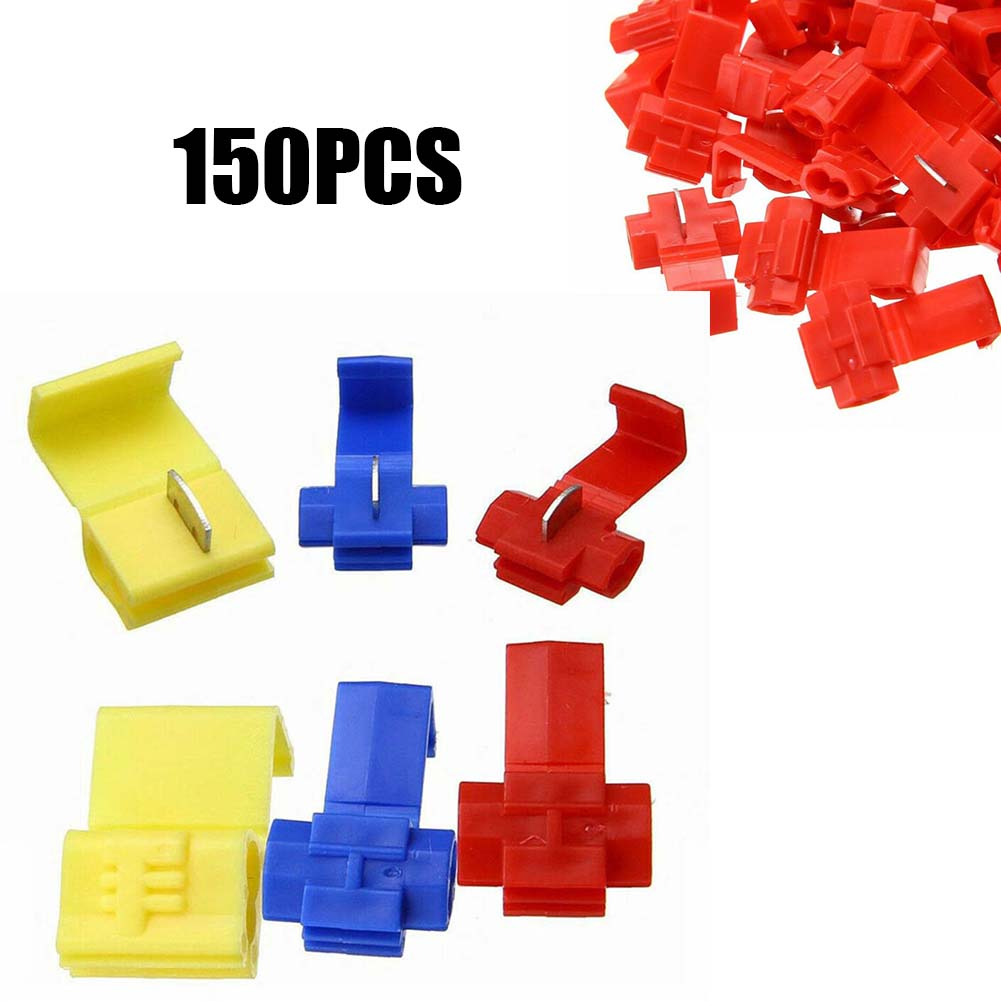 lot100pc self locking electrical cable connector quick splice lock wire terminal 2 pins electrical cable connectors quick splice 150pcs  Lock Wire Cable Connectors Quick Splice Crimp Terminals 3 Colour Home Electrical Wire Cable Accessories