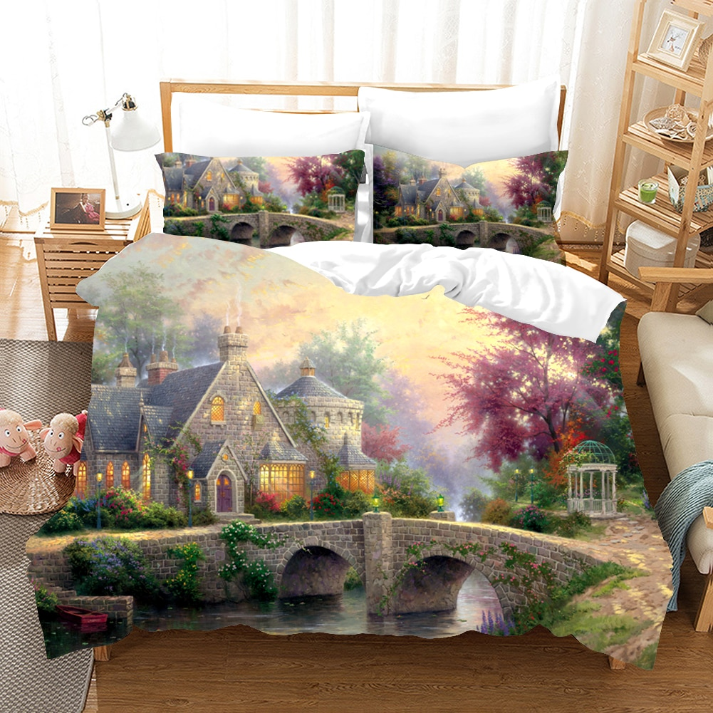 Cottage Bedding Set Oil Painting Duvet Cover Sets Figure Comforter Bed Linen Twin Queen King Single Size Dropshipping Gift