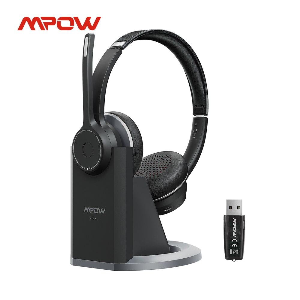 Fones de Ouvido sem Fio Fone com Cancelamento Fone de Ouvido Mpow Bluetooth Ruído Microfone Base Carga Usb Adaptador Computador Hc5 Pro 5.0