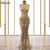illusion beads mermaid evening dresses long sleeveless sexy red carpet runaway dresses awards ceremony dresses party robe femme