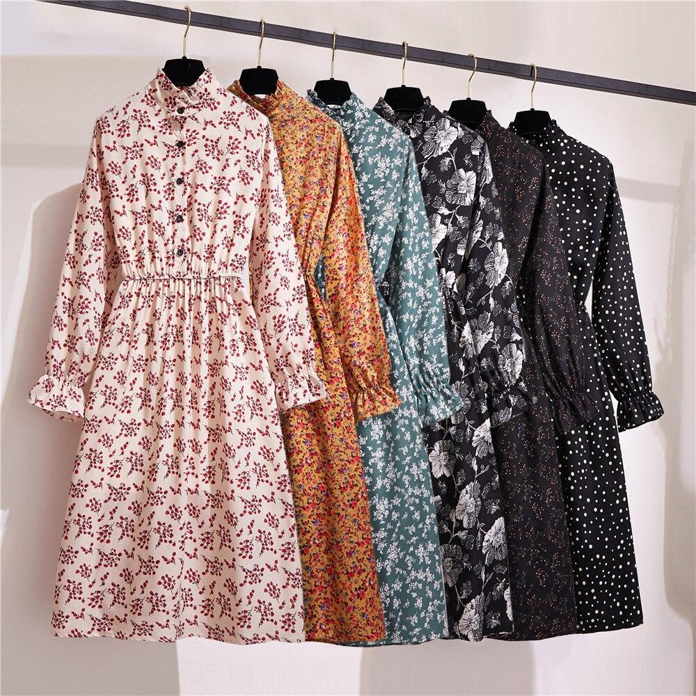 Vestido de mujer 2020 primavera novedad de verano moda cintura elástica manga larga estampado Floral Vintage A-line Vestidos de gasa Vestidos casuales