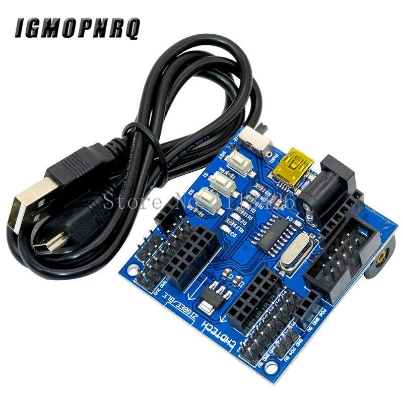 CC2530 ZigBee Sensor Node Módulo Funcional Rodapé Placa de Expansão Porta USB 24MHz 256KB