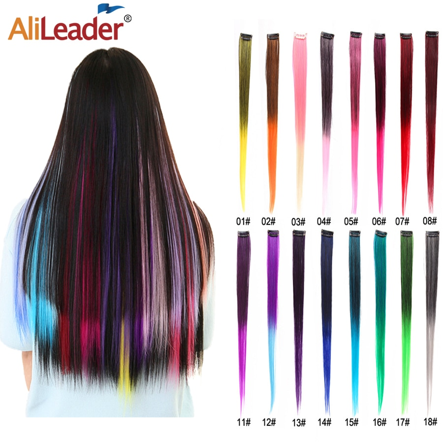 Alileader Hot-Selling One Clip In Hair 20 Inches One Clip In Hair Extention Hairs Colorful Synthetic