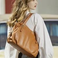 2021 fashion leather handbags single shoulder messenger bag top layer cowhide ladies big bag