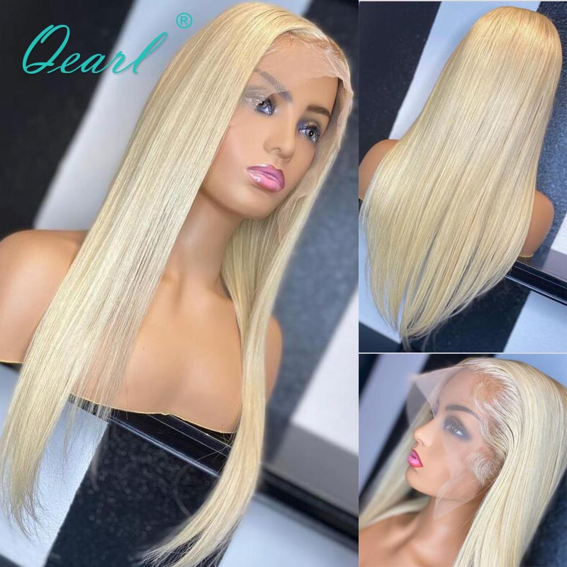 Long Human Hair 13x4/13x6 Straight Lace Front Wig Light Blonde Color Free Part 24