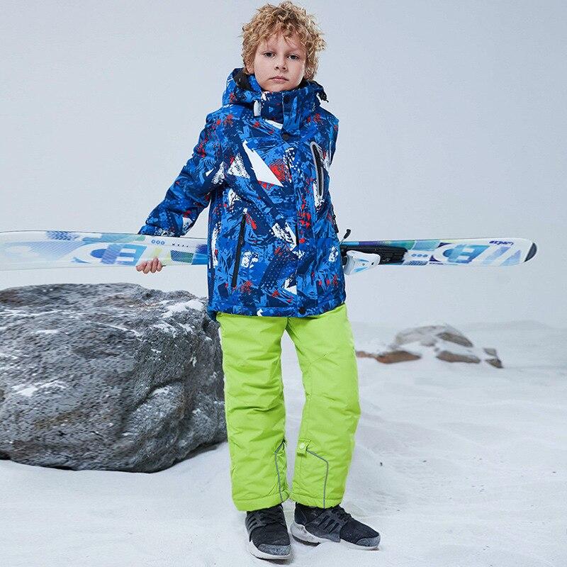 Уличный лыжный костюм для мальчиков ветрозащитная водонепроницаемая Спортивная