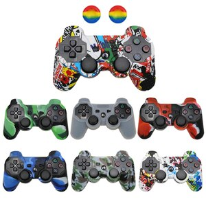 For PS3 Controller Gamepad Silicone Rubber Skin Case Protective Cover For Playstation 3 Joystick with 2 Thumb Grips Caps