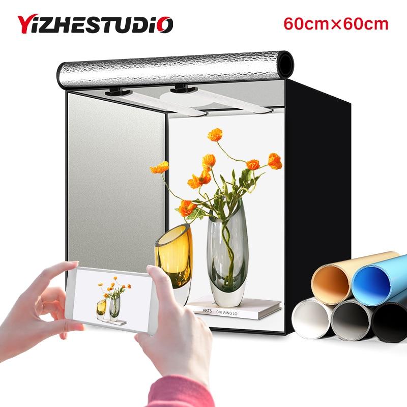 Yizhestudio 60 سنتيمتر صندوق استوديو الصور Led ضوء غرفة عكس الضوء للطي سوفت بوكس خيمة نور مع 4 ألوان الخلفيات ل Fotografico