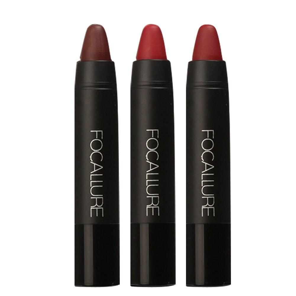 FOCALLURE 3 unids/set lápiz labial resistente al agua de larga duración rojo terciopelo desnudo tatuaje mate Color marrón verdadero lápiz maquillaje conjunto