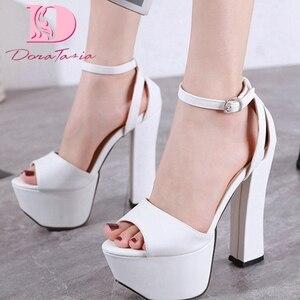 Dora Tasia 2020 New Fashion Women Sandals Square Heels Peep Toe Platform Pumps Summer Casual Women Shoes