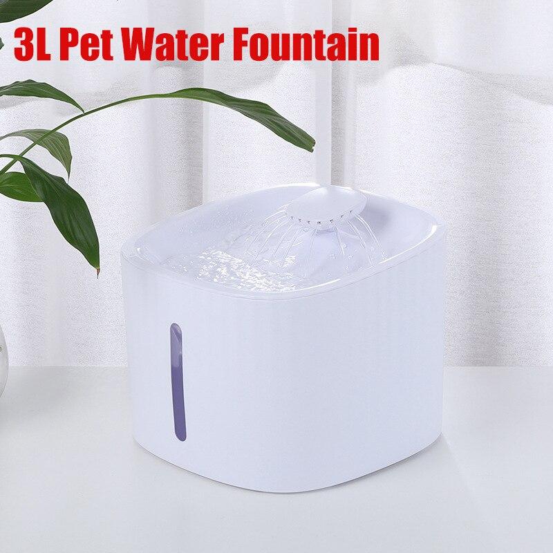 3l fonte de água para animais estimação elétrico automático led gato cão beber dispensador fonte alimentador tigela filtro silencioso bomba
