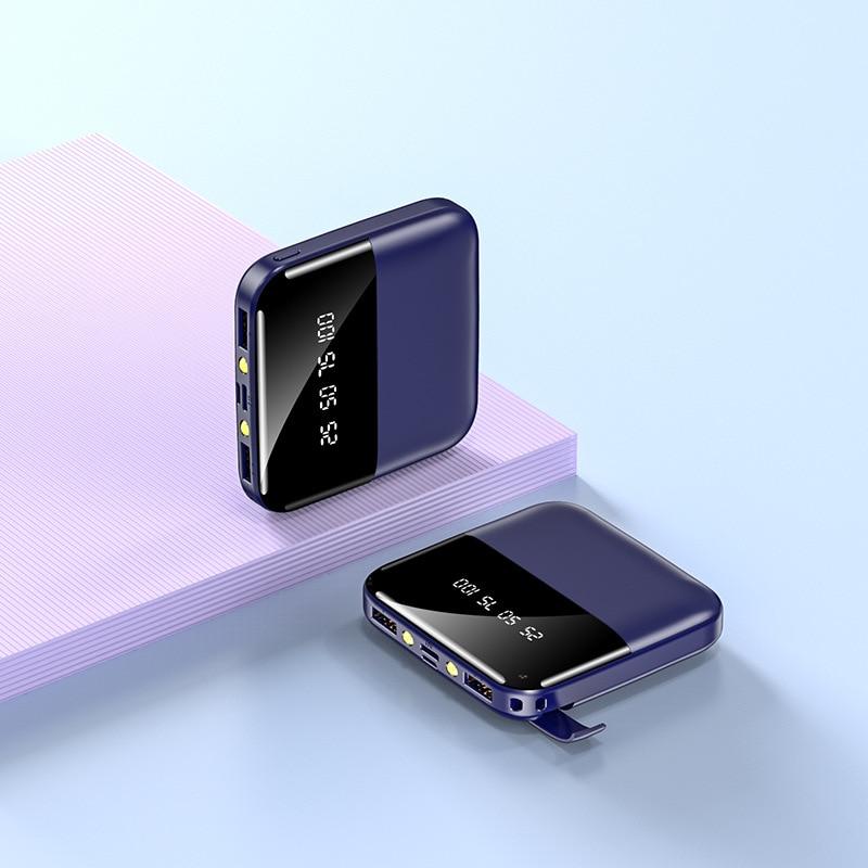 Mini banco de energía de 10000mAh con soporte de teléfono portátil batería externa mochila Powerbank doble pantalla Digital USB Poverbank