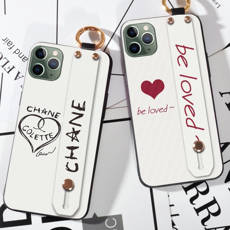 Funda mate con brazalete a cuadros para iphone XR X XS Max 6 6S 5S SE 7 8 Plus 11 11Pro Max funda trasera de flores de lujo