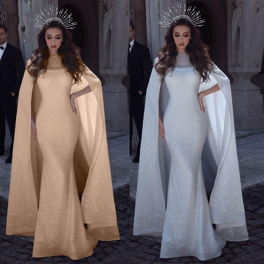 Lentejuela brillante vestido de sirena árabe con largo tren cabo Apliques de encaje con cuentas pura de lujo vestido blanco