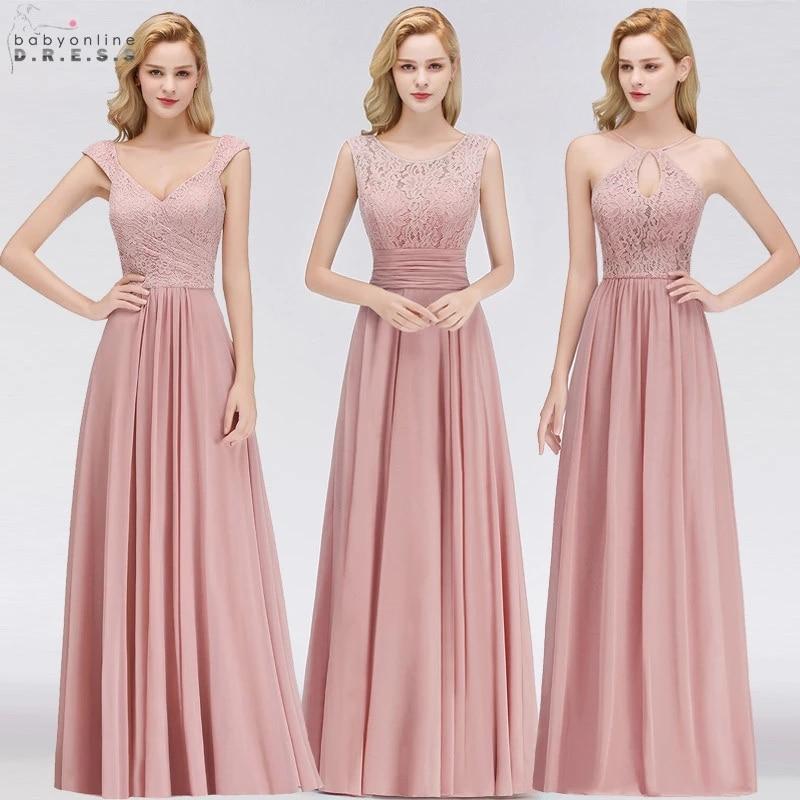 Vestido Madrinha Dusty Rose Lace Long Bridesmaid Dresses  A Line Chiffon Dress for Wedding Party Robe Demoiselle D'honneur