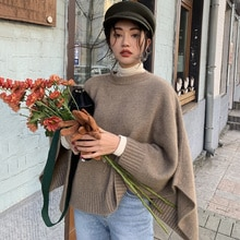 Korean Chic  Women Pullover Autumn French Round Neck Versatile Pullover Loose Color Long Sleeve Shaw