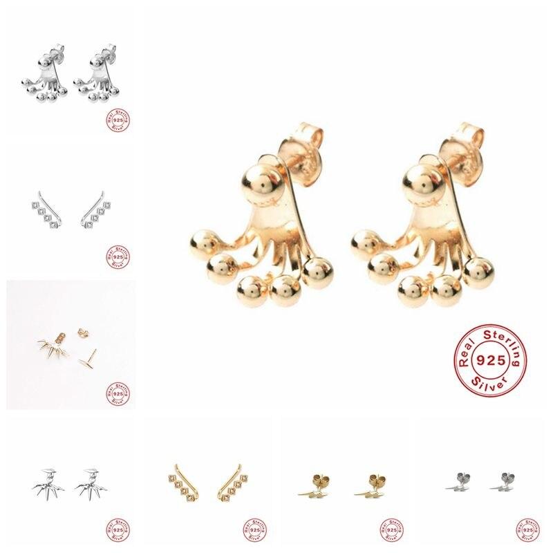 Pendientes de tuerca colgante de plata de ley 925 para mujer, Estrella flor Corazón, bola, abalorio, pequeños pendientes de tachuela A30