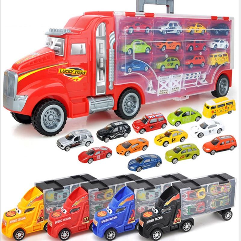 Детские игрушки, катапульта, контейнер для автомобиля, коробка для хранения из сплава, автомобильный прицеп, набор моделей, подарок на фести...