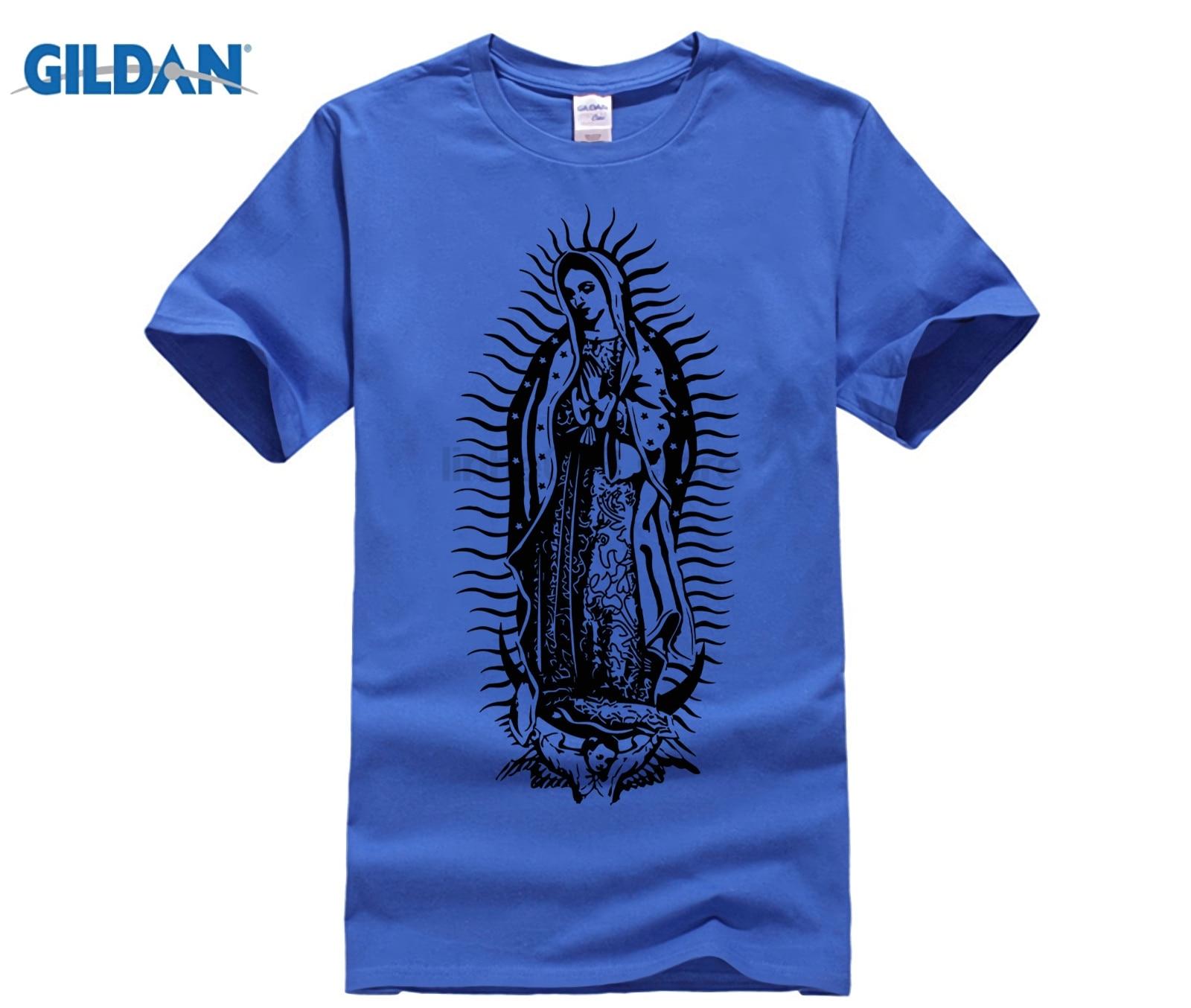 Blessed Virgin Mary Madonna Kalashnikov Gun T-Shirt Top Pure Cotton Men T-Shirt