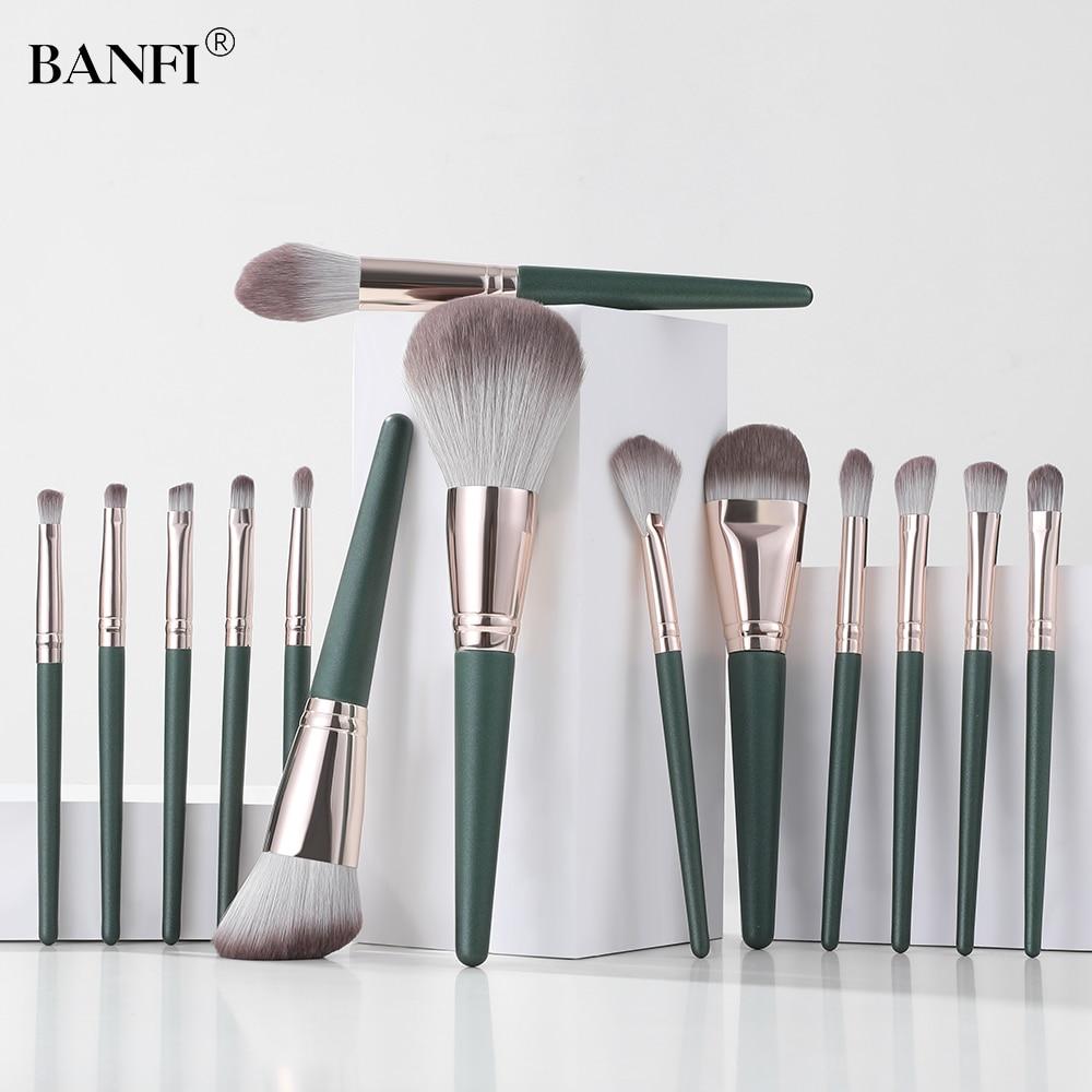 BANFI 14 Green Cloud Professional Makeup Brush Set Eyeshadow Blending Foundation Eyebrow Brush Facia