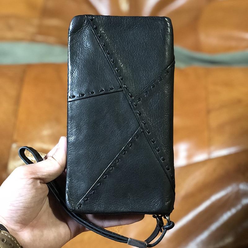 Retro fashion luxury first layer cowhide men's black stitching long wallet Minimalist business card holder card hand Clutch bag
