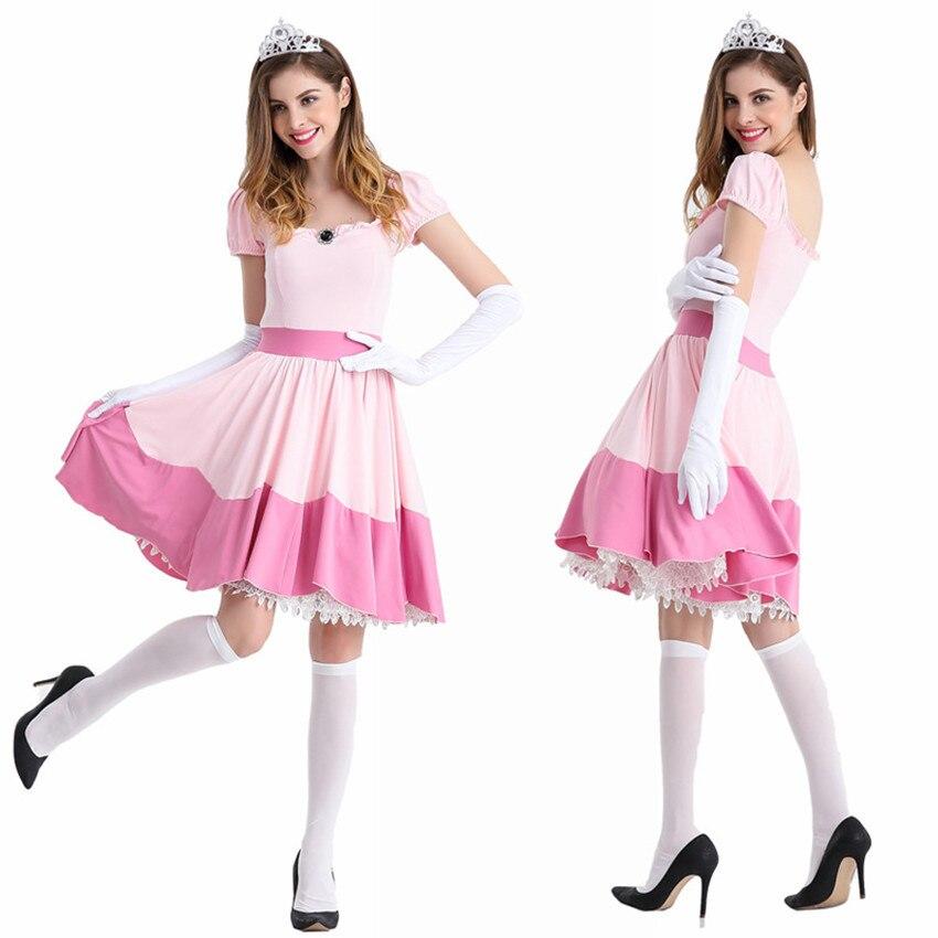 2020 nouveau de luxe adulte princesse pêche robe femmes carnaval fête Cosplay fée princesse rose uniforme tentation Halloween Costume