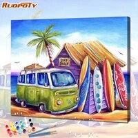 ruopoty beautiful beach bungalow painting by number kits on canvas diy frame modern wall art picture for adult handpainted home