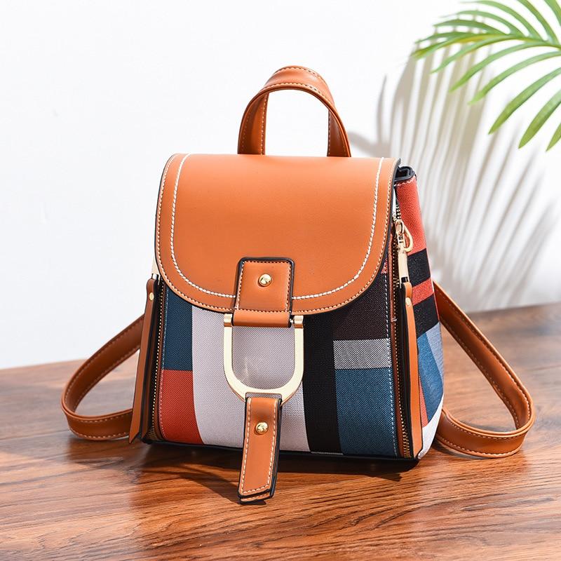 New 2021 Fashion Women Backpack Vintage Female PU Leather Contrast Color Back Pack Students Travel Bag School Bagpack for Girls