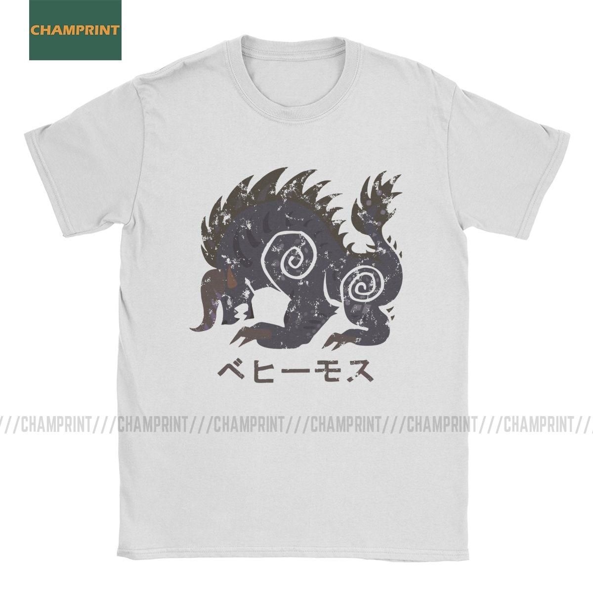 Monster Hunter World Behemoth Kanji icono camisetas hombres algodón camisetas Gaming Dragon Hunting MHW juego de manga corta Camiseta