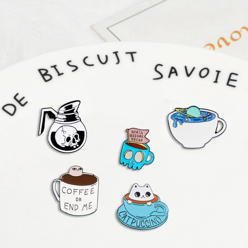 Cup and coffee skull stars Cat combination Denim Enamel lapel pins collection Badges Brooches Gifts for friend Jewelry wholesale