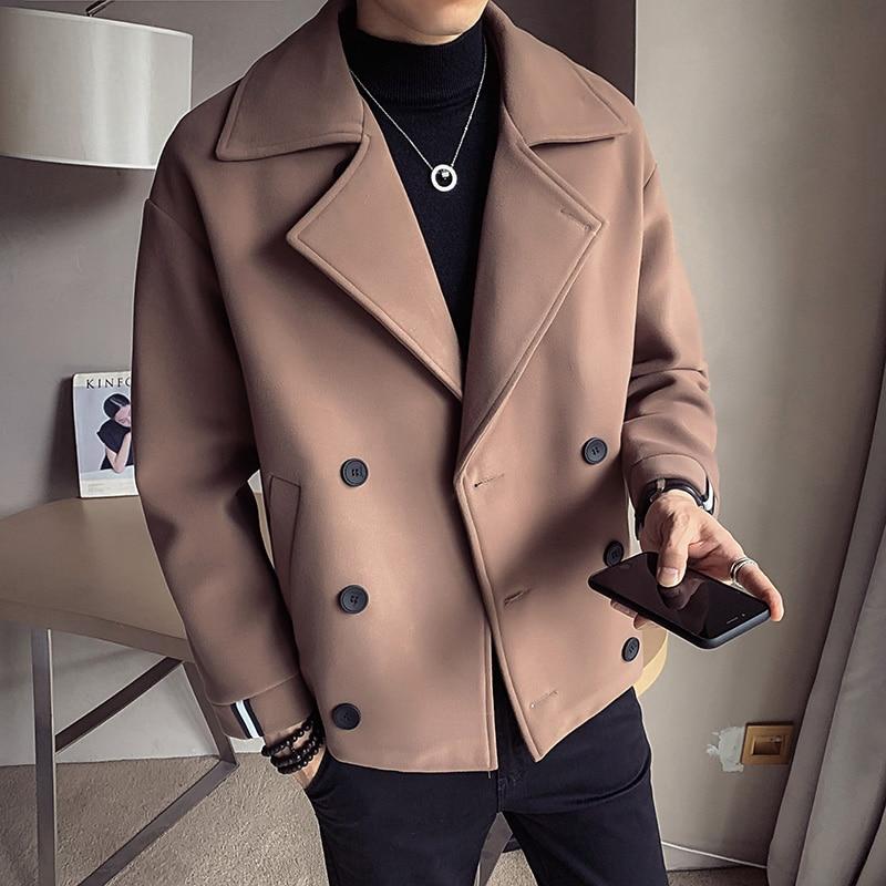 الشتاء الصوف سترة الرجال عالية الجودة الصلبة الصوف معطف الرجال عارضة فضفاضة قصيرة الصوف معطف للرجال خندق معطف