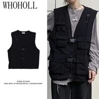 vests couple women pocket design cargo new teens japan style sleeveless college unisex summer outwear clothes oversized harajuku