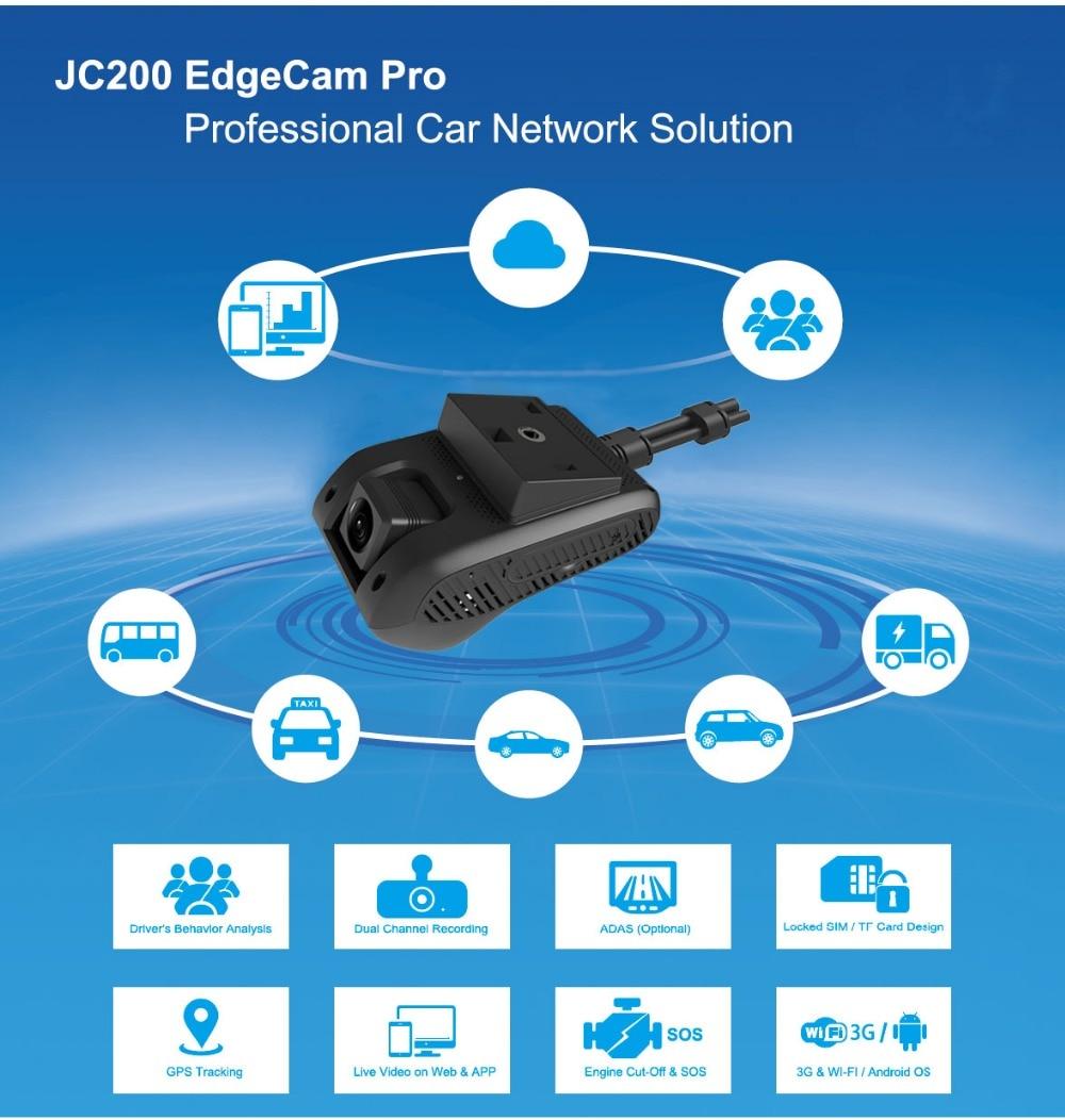 Nuevo JC200 EdgeCam Pro 3G coche DVR Dash Camra cámara de coche con HD 1080P Cámara Dual GPS rastreador control remoto de transmisión en directo