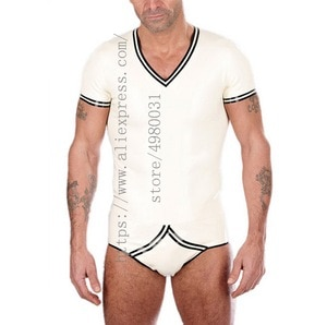 Casual men's clothing sets including summer t-shirt and briefts made of 0.4mm thickness natural latex materials