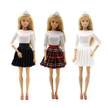 Fashion White Tops Skirt Outfits Set for Barbie 1/6 BJD SD Doll Clothes Accessories Play House Dress