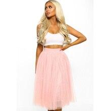 Women's Tulle Plain Pleated Skirt 2020 New Fashion Pink Grey Mesh Midi Skirt High Waist Woman Skirts Layers
