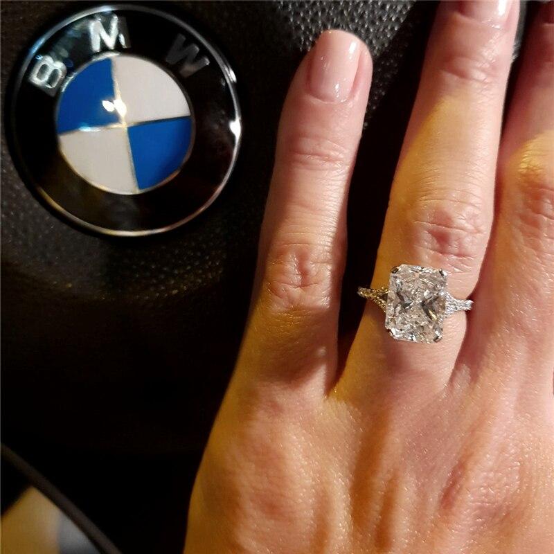 خاتم مويسانيتي من الذهب الأبيض عيار 14 قيراط للنساء ، خاتم ، 4.0 قيراط ، 10 × 8 مللي متر ، فاخر ، زفاف ، خطوبة