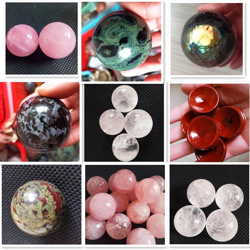 Envío Directo variedad de cuarzo rosa Natural esférico cristal sanador esfera gema 1 pieza