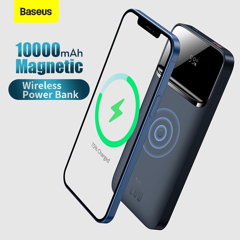 Baseus 20 واط 10000 مللي أمبير المغناطيسي اللاسلكية شحن سريع قوة البنك العرض الرقمي آيفون 11 12 13 برو هواوي شاومي سامسونج