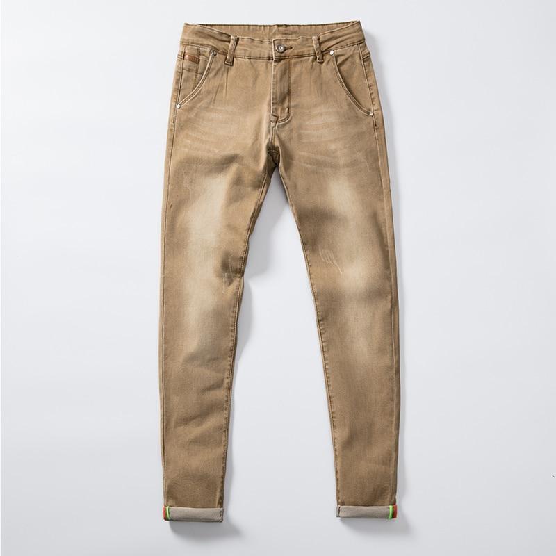 Джинсы мужские Стрейчевые эластичные, хлопковые брюки скинни из денима, модная одежда, варенные джинсы хаки, весна-осень