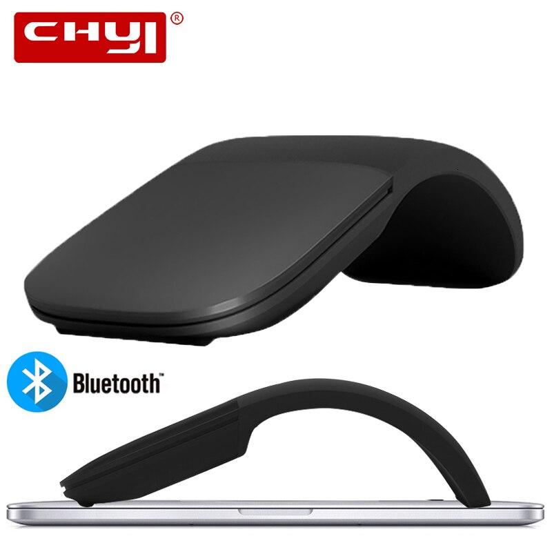 Chyi silencioso bluetooth 4.0 mouse sem fio arco toque rolo ratos ultra fino laser computador gaming dobrável mause para microsoft pc