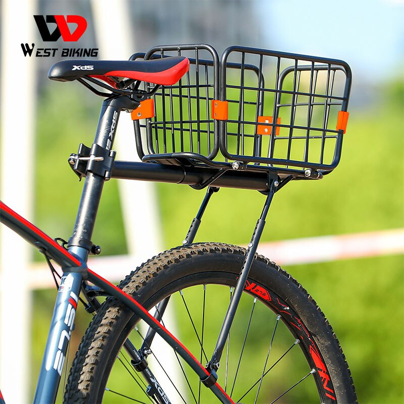 WEST BIKING Detachable Bicycle Rear Cargo Rack Multifunctional Alloy Shelf Cycling Racks Trunk 50KG Load-bearing MTB Bike Basket