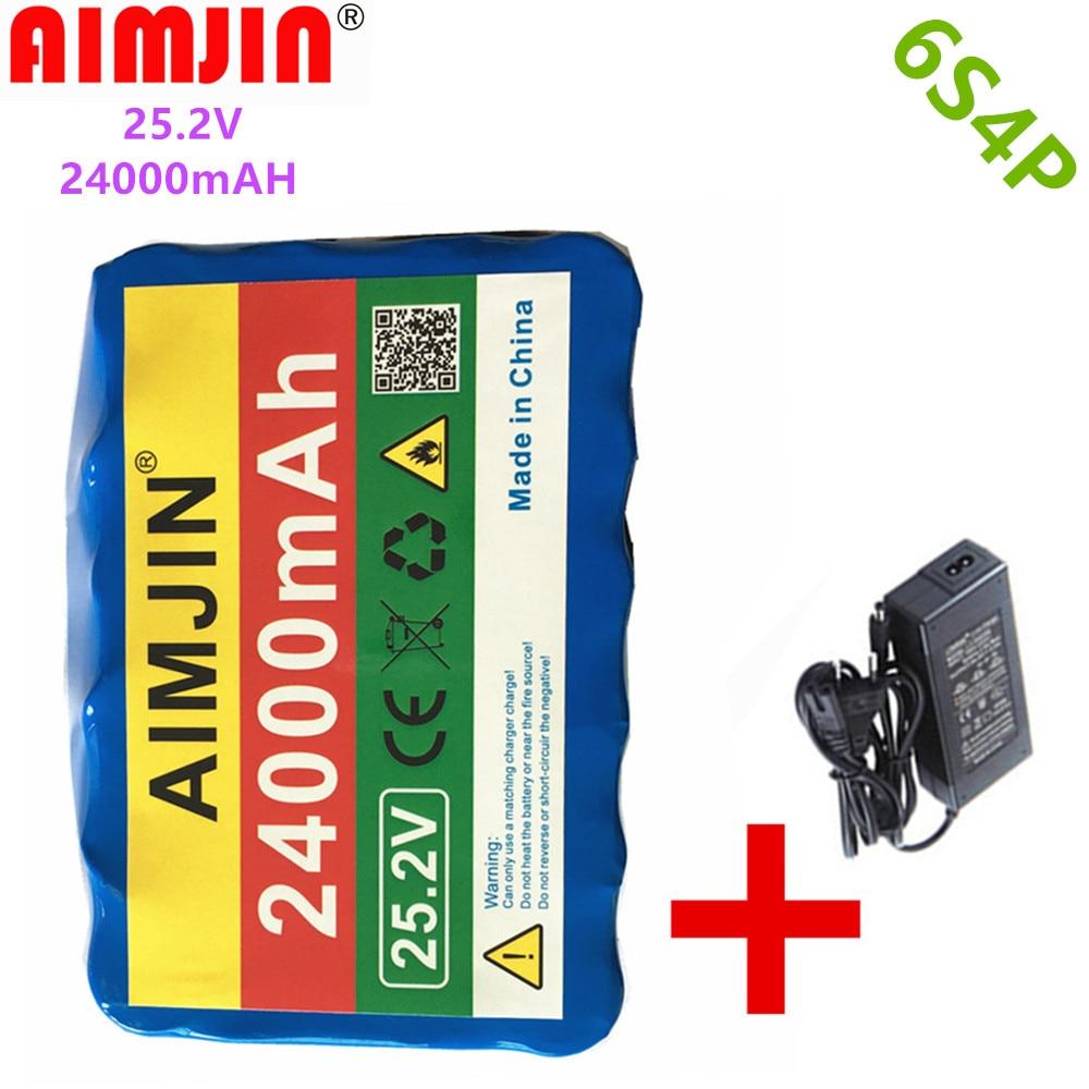 Neue 6S4P 24V 24Ah 18650 Batterie Lithium-Batterie 25,2 v 24000mAh Elektrische Fahrrad Moped/Elektrische/Li ion Akku + 1 Ladegerät