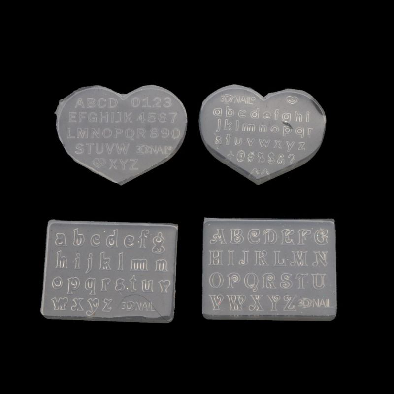 2Pcs 3mm Small Size Numbers Letters Mold Pendant Resin Silicone Molds Message Fillings Making Jewelry Tools