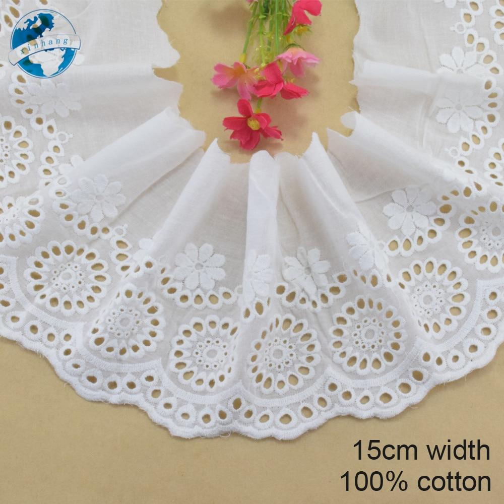 Encaje bordado de algodón 100% de 15cm de ancho, listón para coser recorte de guipur, decoración de boda, accesorios para manualidades, ropa, borde de encaje #4015