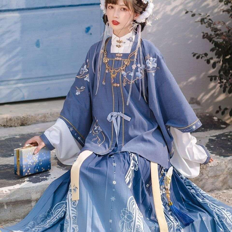 زي Hanfu العرقي الصيني للنساء ، زي فانتازيا أزرق للهالوين ، فستان هانفو فاخر للنساء ، مقاس كبير