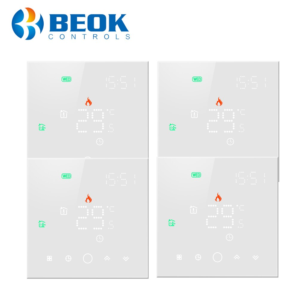 4 unids/pack de termostato blanco Wifi para calefacción por suelo radiante de agua con termostato semanal programable trabajar con Alexa Tuya Google Home