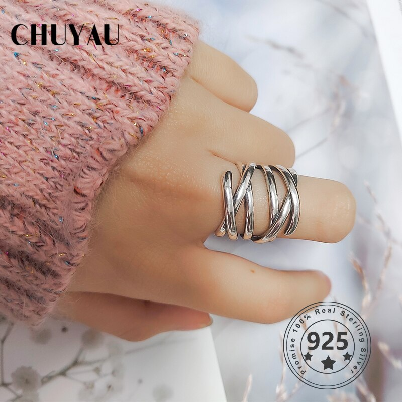 Chuyau, anillo trenzado de Plata de Ley 925 auténtico de moda, bobinado multicapa, anillo abierto, joyería fina para mujer, estilo Simple